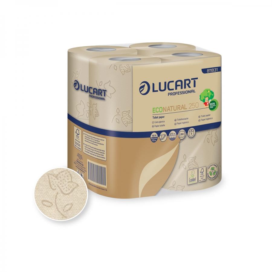 Lucart Prof. EcoNatural 250, Toilettenpapier, 2-lagig, recycling, 250 Blatt, natur, 64 Rollen/Sack