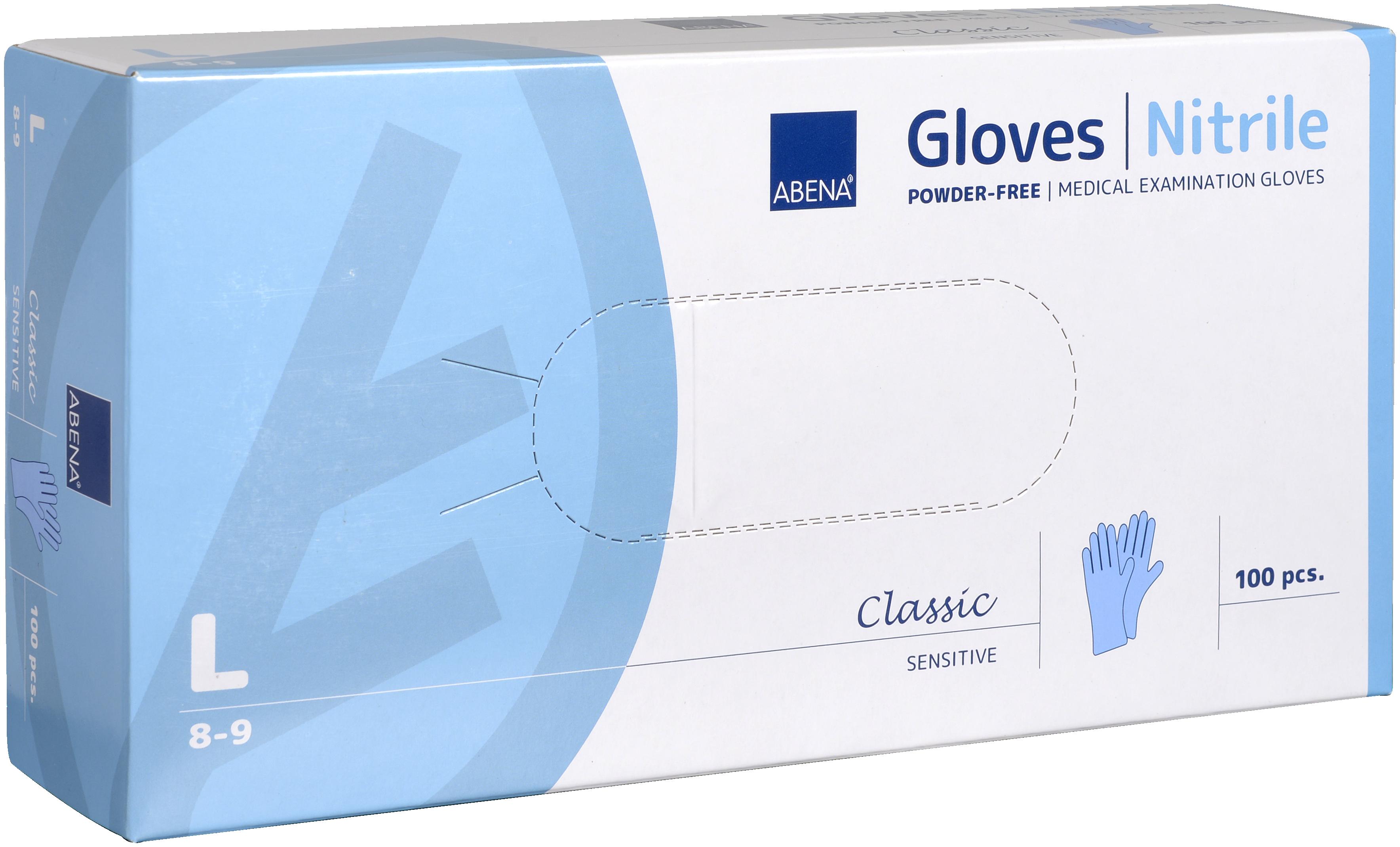 Abena Classic Sensitive Nitril Handschuh Größe L, 10 x 100 Stück, puderfrei, blau, Gr. L