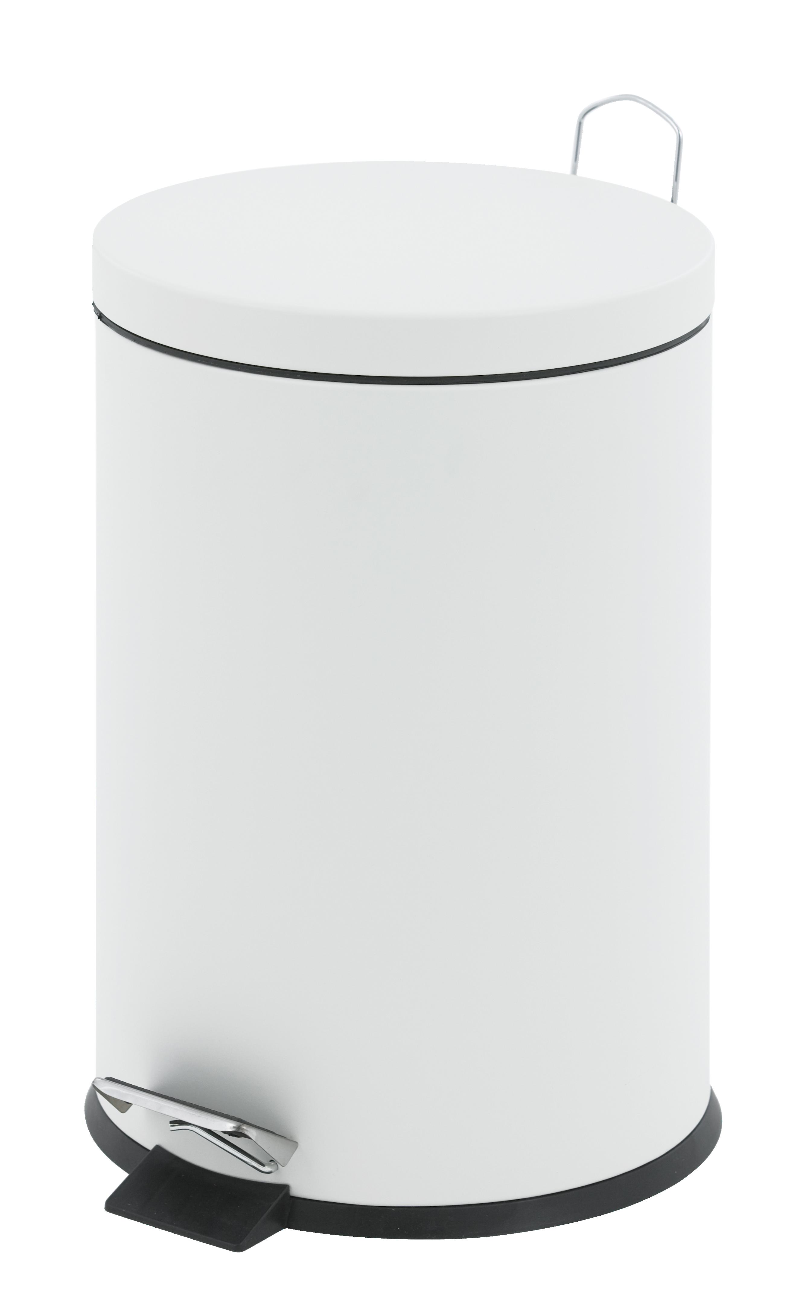 Tretabfalleimer, 12 Liter, weiß, 40 x 25 cm