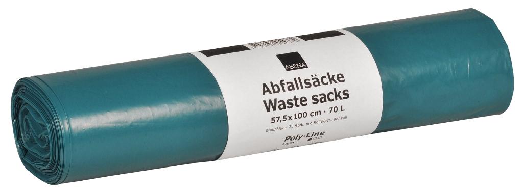Poly-Line Abfallsack, 32 my, LDPE, 10 x 25 Stück, blau, 57,5x100cm/ 70 Liter